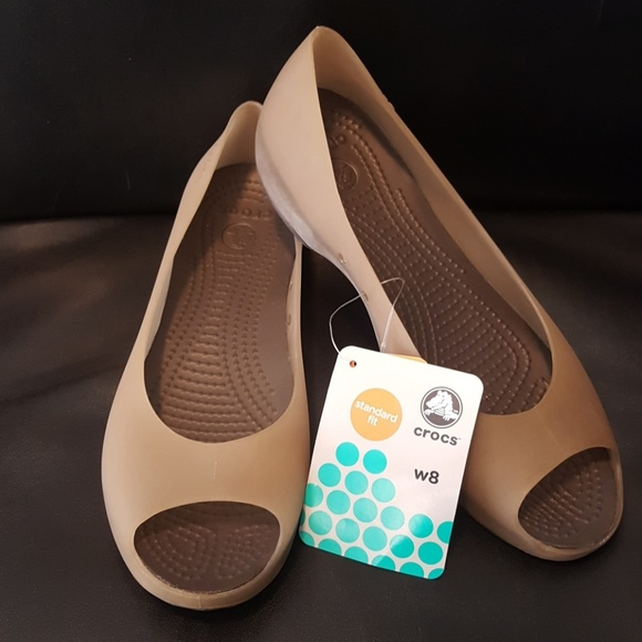 Sale Crocs Carlie Peep Toe Flats Nwt